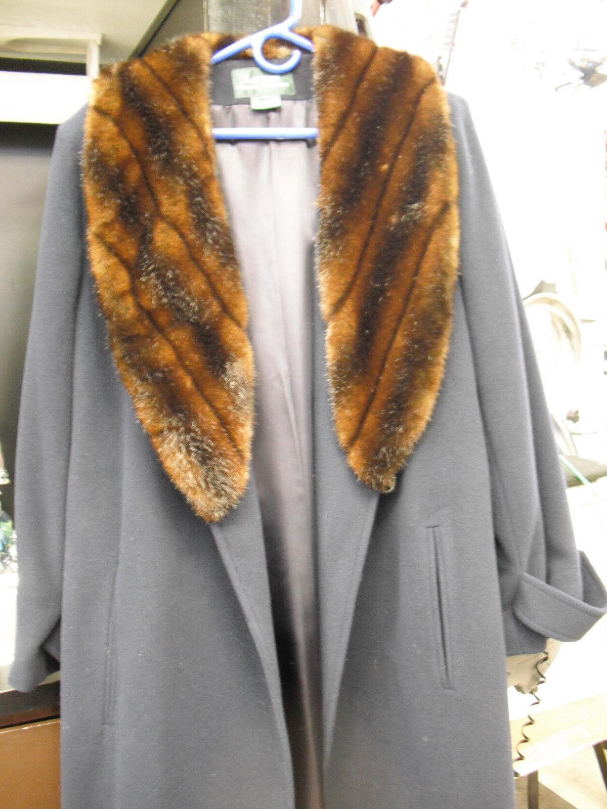 LAUREN Ralph Lauren Navy long tie front Coat with faux fur collar sz. 12