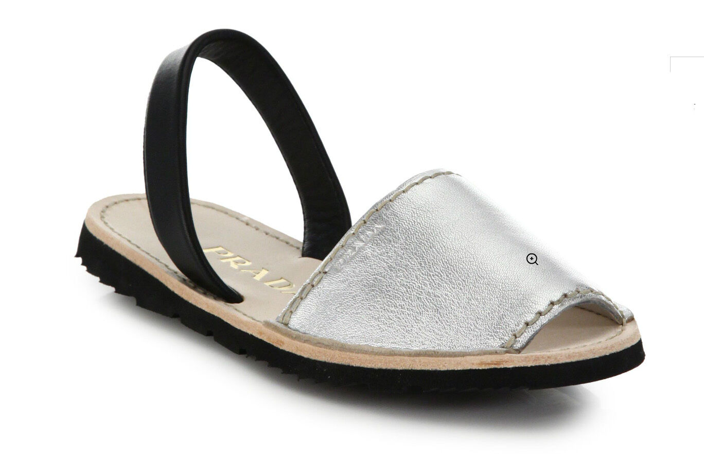 100%authentic Prada Two-Tone Metallic Leather Flat Sandals sz 39.5   9.5US