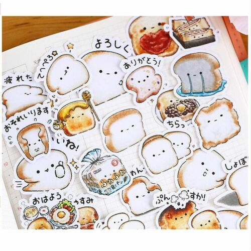 40pcs Creative Cute Bread Stickers Pack Painted Toast Photo Album Crafts Decor