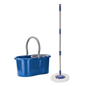 360 Degree Rotating Spinning Spin Mop Bucket Adjustable Handle 2 Cleaning Heads