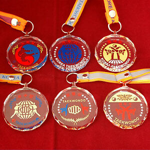 Taekwondo Crystal Medals 10 Types Kids Awards Ribbon Included TKD Presents Gifts