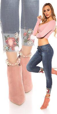 Jeans Stickerei XL 38/40 Skinny Bootcut 7/8 Blumenstickerei Glitzer Stretchjeans