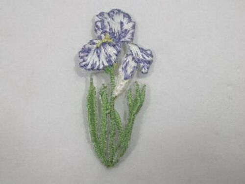 Lilac White Iris Embroidered Iron On Applique Patch Sm