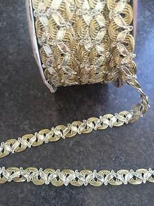 1M  GOLD amp SILVER BRAID LACE RIBBON TRIM WITH  12MM WIDE - <span itemprop='availableAtOrFrom'>London, Hertfordshire, United Kingdom</span> - 1M  GOLD amp SILVER BRAID LACE RIBBON TRIM WITH  12MM WIDE - London, Hertfordshire, United Kingdom