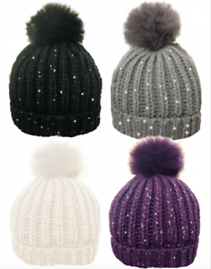 Womens Bobble Hats Ribbed Sequin Detachable Faux Fur Pom Pom Winter ... 1b5db0768e8