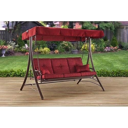 Front Porch Swing Set Outdoor Patio Swings With Canopy Swinging Bench 3 Person