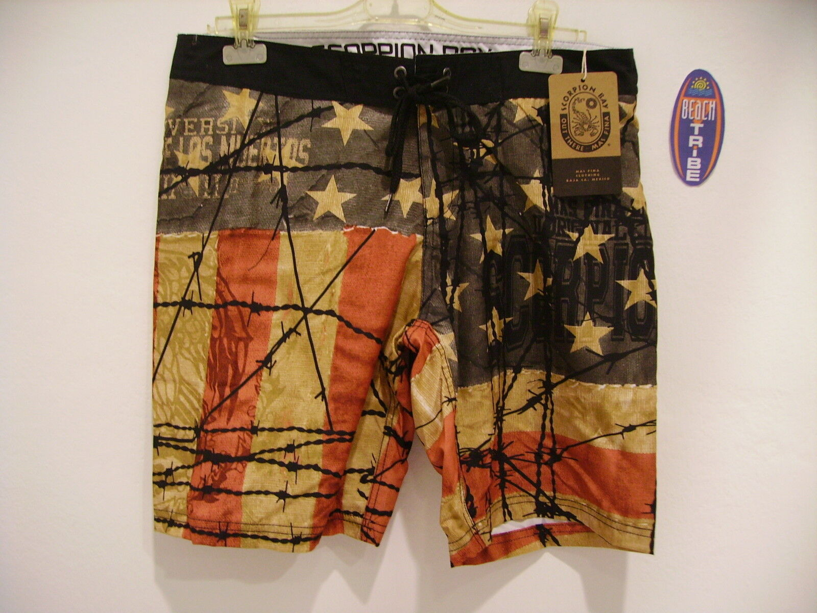 SCORPION BAY BOARDSHORT PANTALONCINO MARE COSTUME MBS2723 RED ALL OVER USA 34