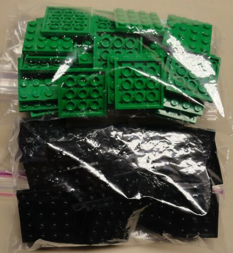 x64 NEW Lego Plates 4x4 Black /& Green Baseplates MAKES CHESS Game Board