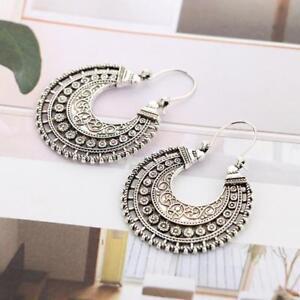 Fashion-Hoop-Earrings-Ethnic-Tribal-Aztec-Hippy-Dangle-Silver-Tibetan