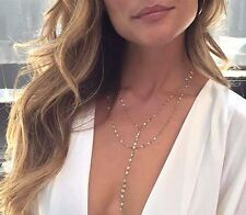 Di Tendenza Gold Tone Twisted Lariat Collana Catena con scollatura-UK Venditore
