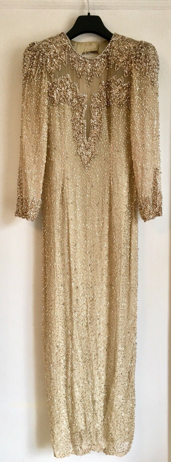 Vintage beaded champagne 1980's Gown. In The Style of Oleg Cassini.