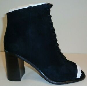 Frye-Size-9-M-AMY-PEEP-LACE-Black-Suede-Leather-Heels-Booties-New-Womens-Shoes