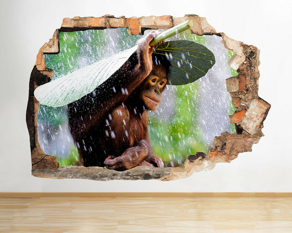 F408 Singe Monsoon pluie Jungle Smashed mu Autocollant Chambre 3D Vinyle enfants
