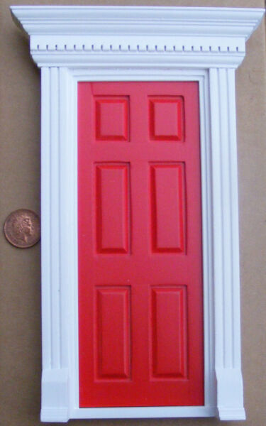 Bellissimo Scala 1:12 Rosso Dipinta In Legno Fata Apertura Porta Anteriore Accessorio Casa Delle Bambole 696