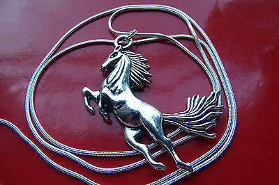 "Classic Silvered Stallion 2"" Pendant on a 30"" .925 Sterling Silver Snake Chain"