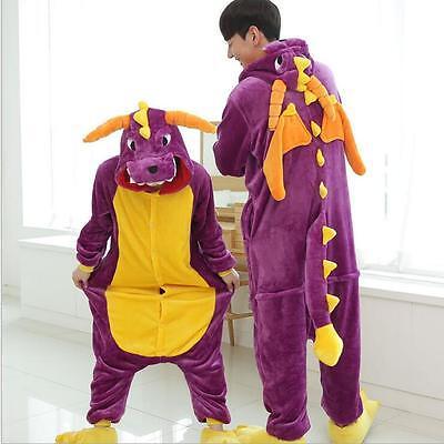 NEW!  Adult Lovers Animal Kigurumi Pajamas Costume Cosplay pyjamas purple Dragon