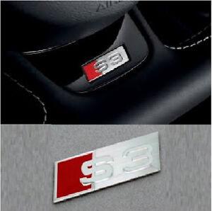 s3 volant autocollant embl me insigne audi chrome a3 rs3 s line rouge facelift uk ebay. Black Bedroom Furniture Sets. Home Design Ideas