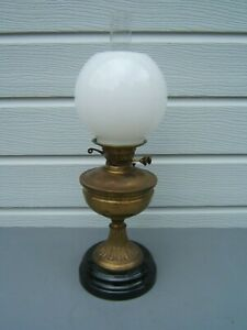 oil-lamp-vintage-brass-Duplex-burner-milk-white-globe-shade-23-034-tall-OL22