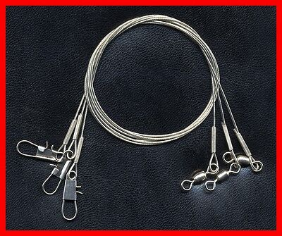 Two Solid 12-inch Stainless Steel 120 Lb Test Leaders Welded Ring Swivel /& Snap