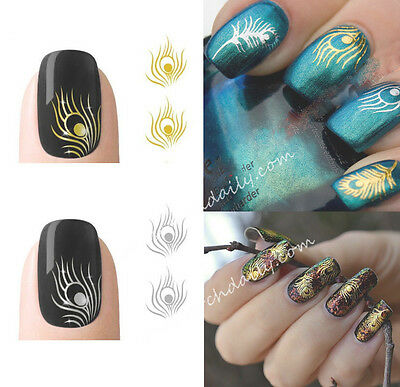 2 Sheets Nail Art sticker peacock Feather Wraps Water Transfers Decal METALLIC