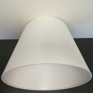 Textil-Lampenschirm-E27-asymmetrisch-Stoff-weiss-38cm-konisch-Crook-Rund