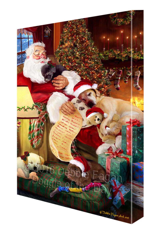 Happy Holidays Santa Sleeping Labrador Retriever Dog Christmas Canvas Wall Art