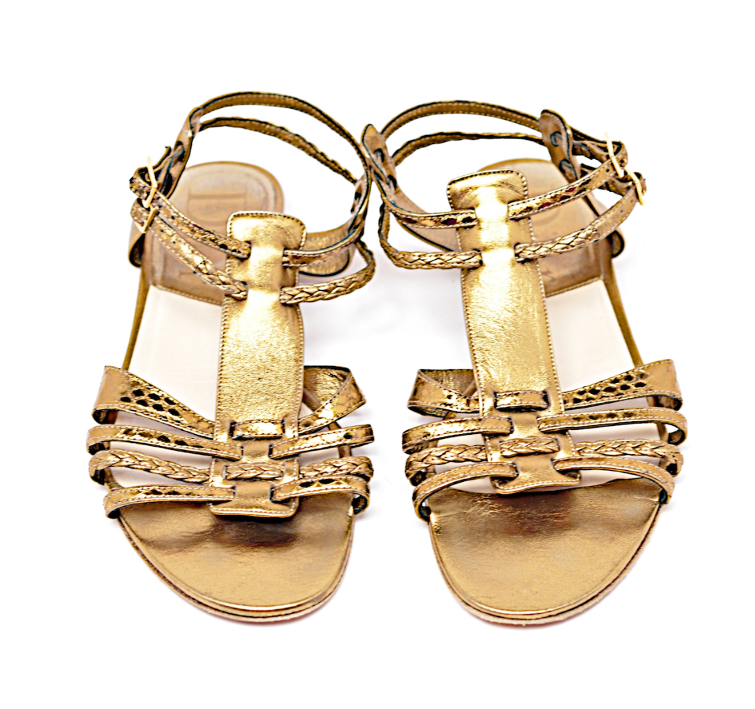 DIOR Light Bronze Bronze Bronze Leather Strappy Flat Sandals with Double Buckles  36 US 6 57fc2d