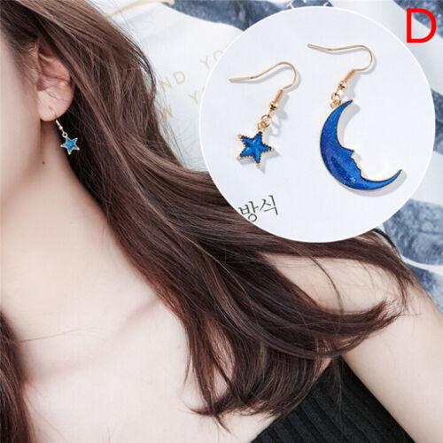 Blue Star Moon Long Drop Dangle Earring Women Planet Ear Stud Earrings Jewelry F