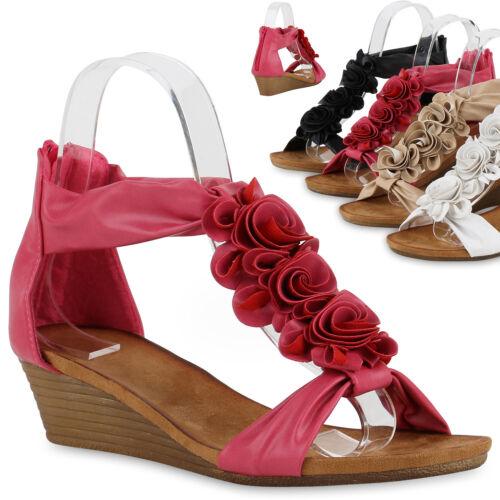 Bequeme Damen Sandaletten Blumen Wedges Sommerschuhe 816988 Trendy