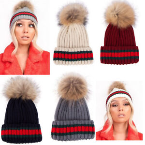 55d956a61 Details about Womens Designer Green Red Stripe Real Fur Detachable Pom Pom  Knitted Beanie Hat