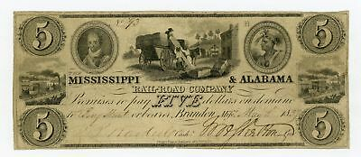 1837 $5 The Mississippi & Alabama Rail Road Co. - MISSISSIPPI Note w/ SLAVES
