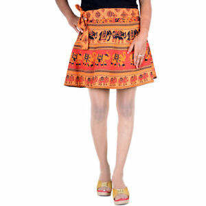 Boho-Wrap-Dress-Ethnic-Style-Cotton-Wrap-Around-Mini-Short-Skirt