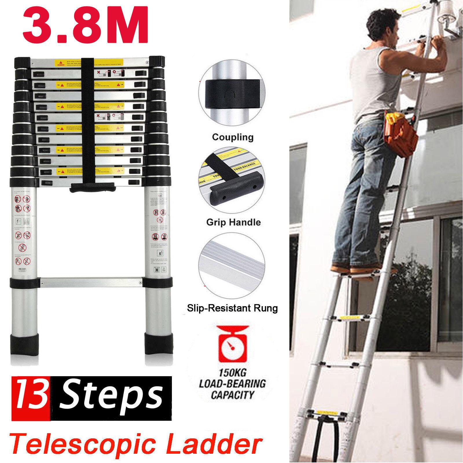 3.8m 12.5ft Telescopic Aluminium Climb Ladder Alloy Extension Extendable 13Steps