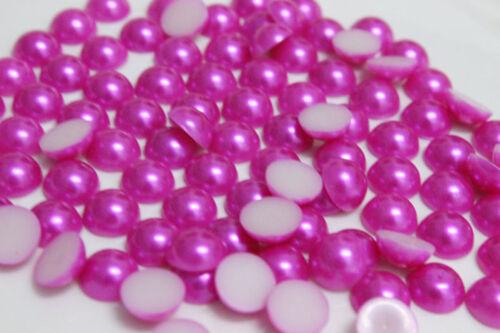 Wholesale 100-2000pcs 8-10mm semicircle flatback pearl beads scrapbooks DIY