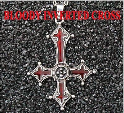 Red Bloody Inverted Cross Pendant Necklace Gothic Devil Lucifer Satan Satanic