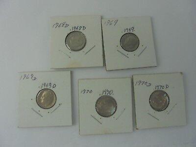 Lot of 5 Roosevelt Dimes 1968D,1969,1969D,1970, & 1970D Uncirculated