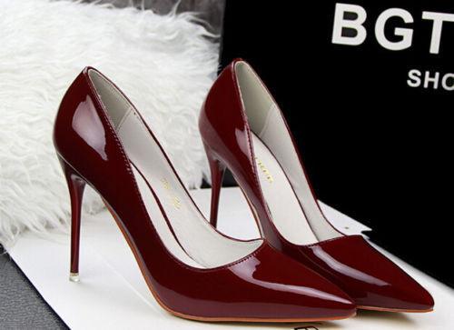 Décollte Schuhe Pumps Frau Absatz Stift 10 cm Stilett Rot Bordeaux 8639