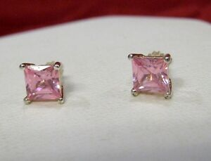 Image Is Loading 925 Sterling Silver Princess Cut Pink Stone Stud