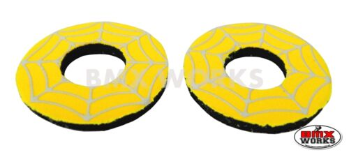 Yellow /& White Flite Old School BMX Grip Donuts Pairs Spider Web