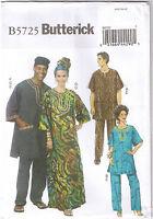 Butterick Pattern Misses' and Men's Tunic Caftan Pants Hat Head Wrap XN XL XXL XXXL