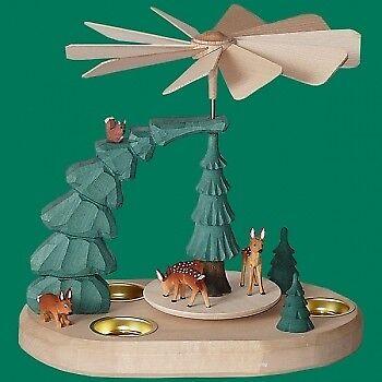 Piramide lumino da tè tè tè con Caprioli Coloreeate Natale Seiffen Erzgebirge STELLA NEVE NUOVO f79643