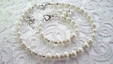 Childrens Girls Bridesmaids Flower Girl Glass Pearl Handmade Jewellery Set