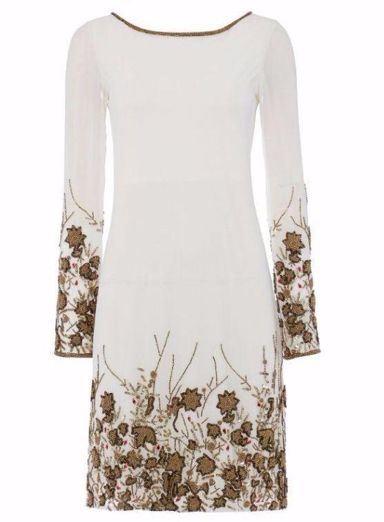 damen RAISHMA Ivory With Bronze Embroidery Dress Größe 14 RRP  box57 01 D