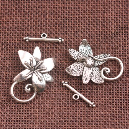Free Ship gros lots 5 sets Tibetan Silver Toggle Fermoirs /& crochets 30 mm Z134