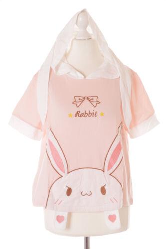 Tp-136 conejo rosa Bunny Rabbit capucha orejas t-shirt pastel Goth Lolita kawaii