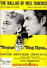 "TENSION AT TABLE ROCK Sheet Music ""Ballad Of Wes Tancred"" Richard Egan"