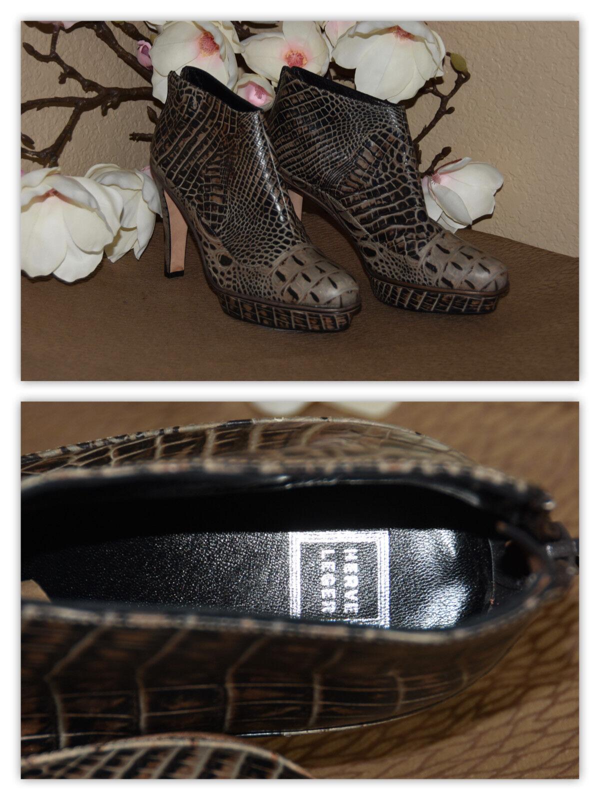 Herve Leger Crocodile Print Stiletto Ankle Platform Leather Boots Size 10 - 40
