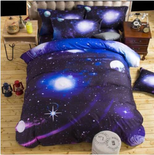 3D Galaxy Bedding Sets Universe Outer Space Duvet cover Sheet Pillow Case Cotton