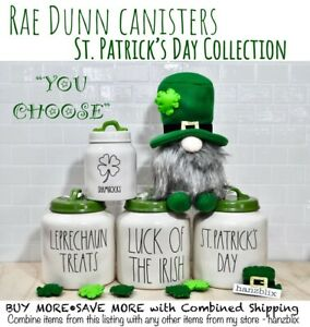 "Rae Dunn Canister, Figural ☘️St. Patrick's Day Collection🍀 ""YOU CHOOSE"" NEW'21"