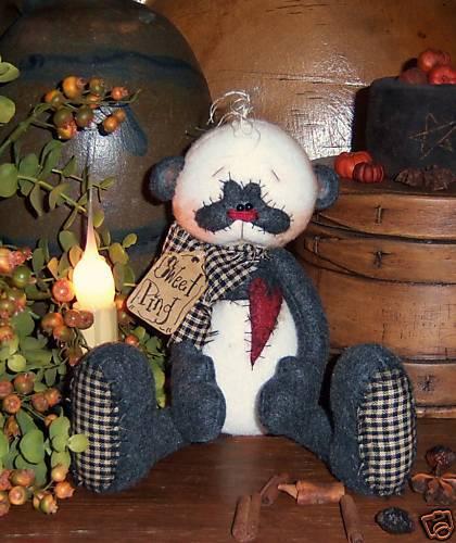 Primitive Panda Bear Teddy Shelf Heart Doll Paper Pattern 514